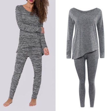 Fashion Women Sleepwear Pajamas Set 2019 New Spring Autumn Ladies Bow Back Long Sleeve Cute Nightgown 2Pcs Gray Size (Autumn Gown)