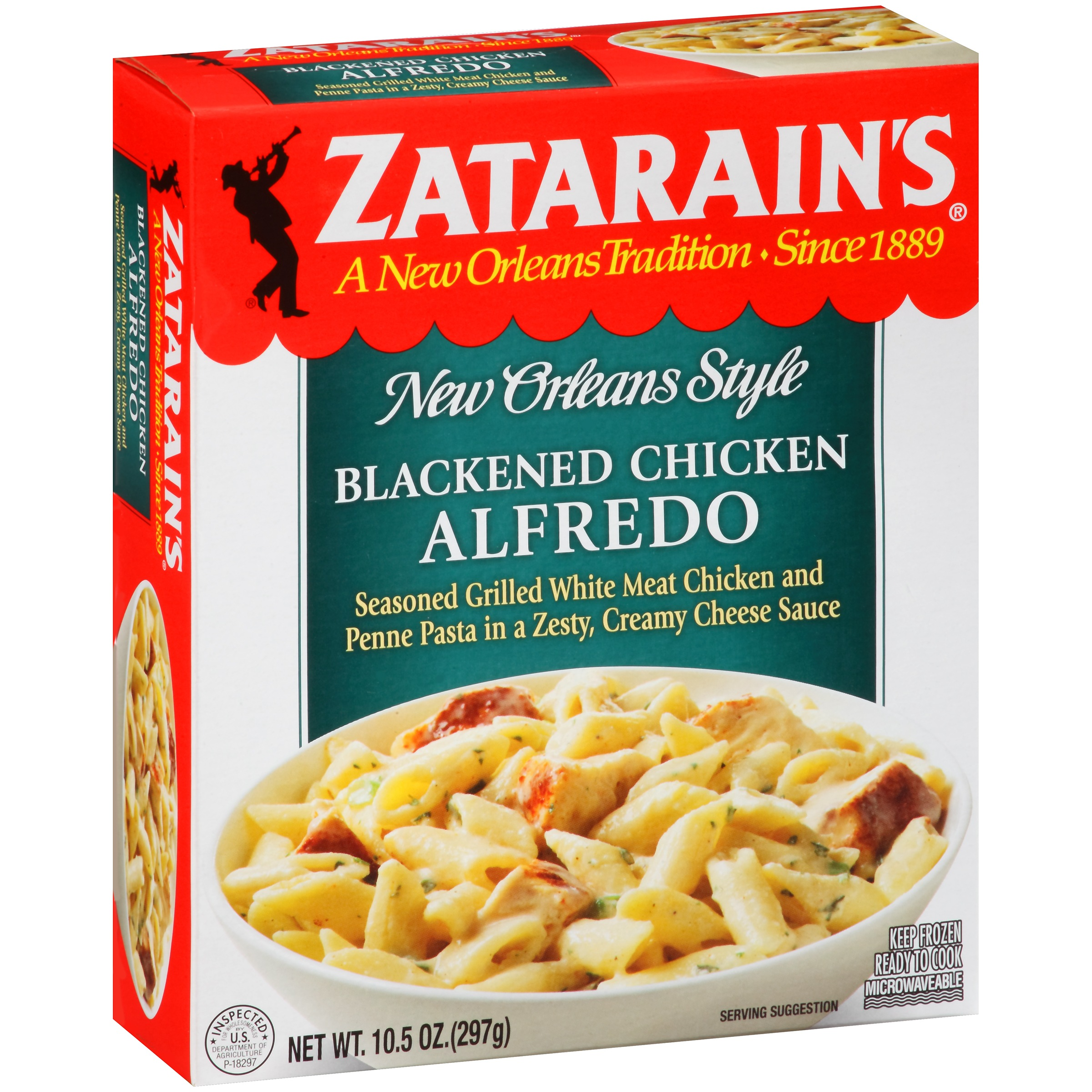 Zatarainu0027s® Blackened Chicken Alfredo, Frozen, 10.5 Oz. Box Image 1 Of 8