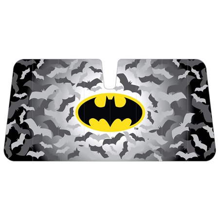 Batman Colored Logo with Bats in Background DC Comics Comics Superhero Character Car Truck SUV Front Windshield Sunshade - Accordion Style - Super Sun