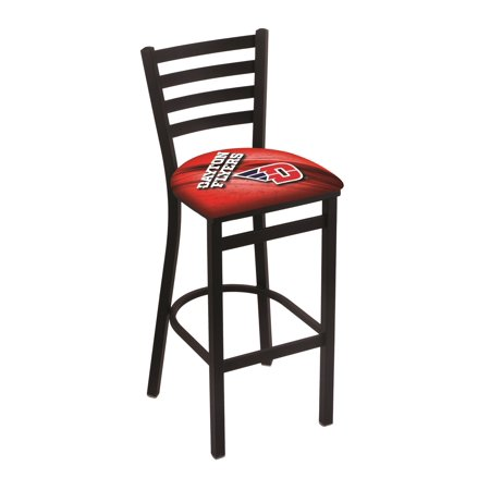 "L004 - 30"" Black Wrinkle University of Dayton Stationary Bar Stool with Ladder Style Back by the Holland Bar Stool Co."