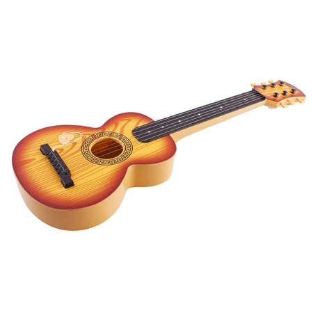 """Toy Guitar Rock Star 6 String Acoustic Kids 25.5"""" Ukulele With Guitar Pick Children's Musical Instrument Vibrant Sound And Color Tunable Perfect For Learning How To Play Educational Light Brown - Star Guitar"""