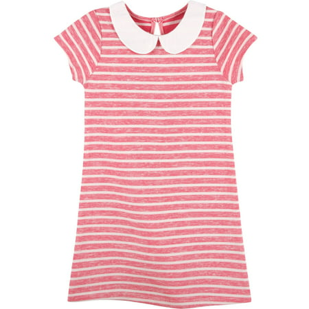 Newborn Baby Girls' Peter Pan Collar Red Striped Knit Dress
