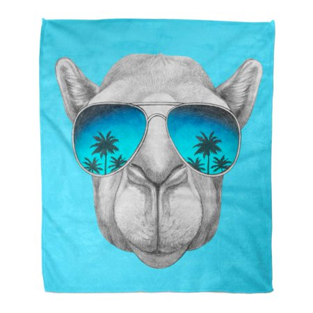 LADDKE Throw Blanket Warm Cozy Print Flannel Cool Portrait of Camel Mirror Glasses Retro Sunglasses Comfortable Soft for Bed Sofa and Couch 58x80 Inches