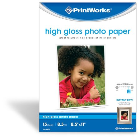 High Gloss Photo Paper, 8.5 Mil, Inkjet, 15 Sheets, 8.5 x 11 Inch (00547), 8.5 mil thickness, 8.5 x 11 inches By (Gloss 15 Sheet)