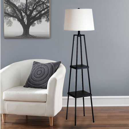 "Catalina 58"" Etagere Floor Lamp, Painted Distressed Iron Finish"