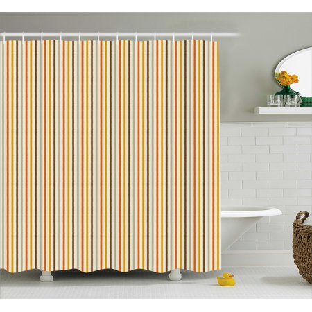 Vintage Shower Curtain, Retro Nostalgic 60s 70s Fashion Stripes Vertical Image, Fabric Bathroom Set with Hooks, 69W X 70L Inches, Marigold Orange Brown and Light Grey, by Ambesonne