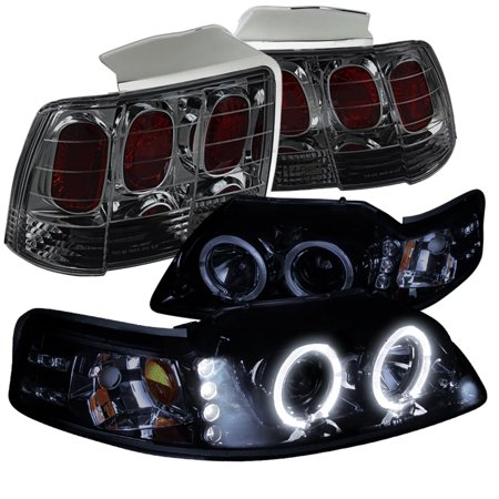 Spec-D Tuning 1999-2004 Ford Mustang Glossy Black Halo Projector Headlights + Smoke Lens Tail Brake Lamps (Left + Right) 1999 2000 2001 2002 2003 2004