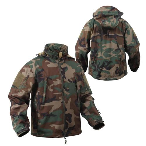 Special Ops Tactical Soft Shell Jacket Woodland Camo X-Large