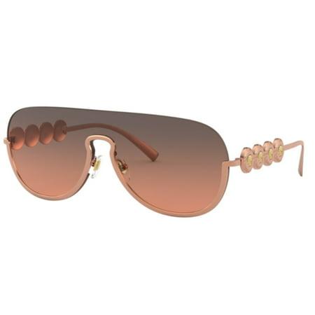 Versace Pilot Sunglasses VE2215 141218 Pink Gold / Orange Gradient Lt Grey Lens