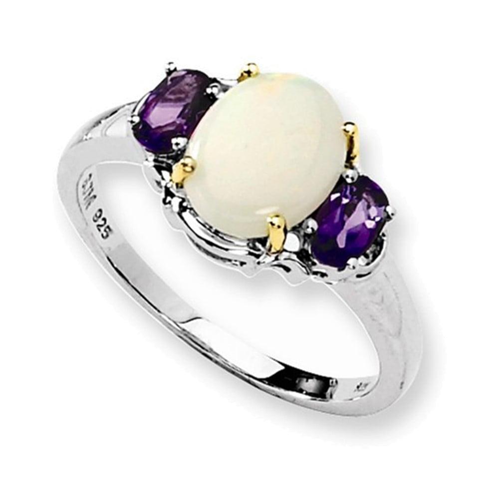 Sterling Silver & 14K Opal & Amethyst Ring Size 7 by