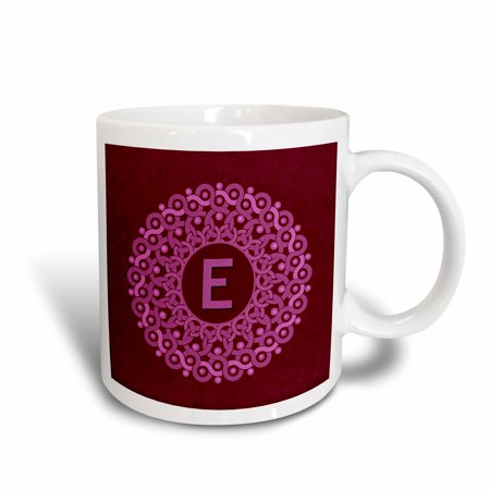 3dRose Monogram E pink and magenta mandala on rich wine red muted grunge damask, Ceramic Mug,