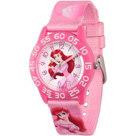 Disney Princess Ariel Girls Pink Plastic Time Teacher Watch  Pink Fabric Strap