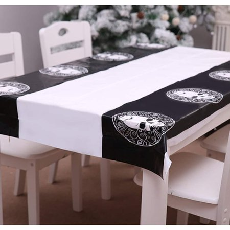 cnmodle Halloween Decoration PE Rectangle Table Cloth Waterproof and Dirt Resistant - skeleton