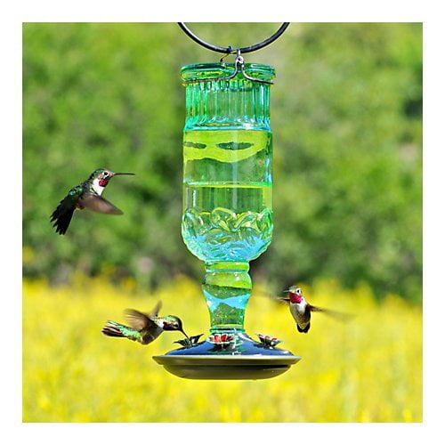 Perky-Pet Green Antique Bottle Glass HummingBirdfeeder by Perky-Pet