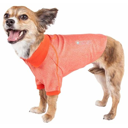 Pet Life PLHL2ORLG Active Fur-Flexed Relax-Stretch Wick-Proof Performance Dog Polo T-Shirt, Orange - Large - image 1 of 1