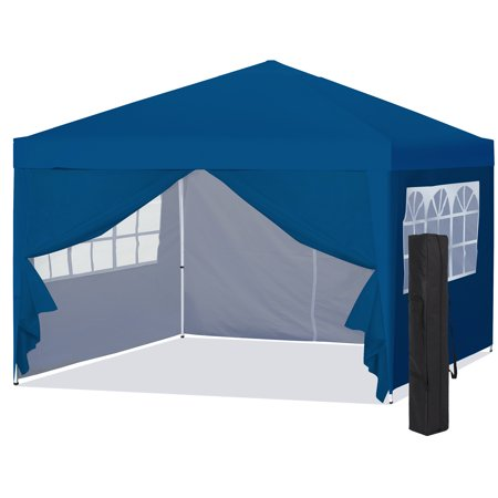 Logo Canopy Tailgate Tent (Best Choice Products 10x10ft Lightweight Portable Instant Pop Up Canopy Shade Shelter Gazebo Tent for Backyard, Camping, Beach, Tailgate w/ Carry Bag, Side Walls - Blue)
