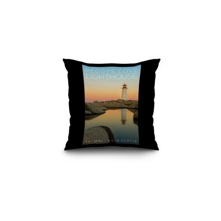 Halifax, Nova Scotia - Peggy's Cove at Dawn - Lantern Press Photography (16x16 Spun Polyester Pillow, Black