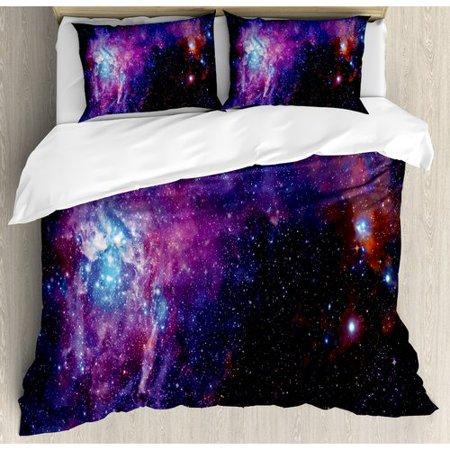 Ambesonne Galaxy Starry Night Nebula Duvet Cover Set