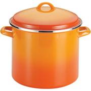 Rachael Ray 12-Quart Enamel on Steel Stock pot/ Stockpot with Lid, Orange Gradient