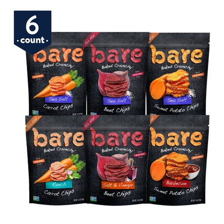 bare Baked Crunchy Veggie Chips Variety Snack Pack, Sweet Potato, Beet, and Carrots, 1.4 oz Bags, 6