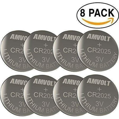 AM Volt CR2025 8 pack Battery 3 Volt Lithium Battery Coin Button Cell for Watch, Calculator, Car Key Remote Expiration 2022-11