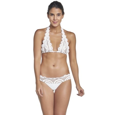b460a657656d6 PilyQ Water Lily Lace Triangle Halter Bikini Top in White WAT-152H S   White  - Walmart.com