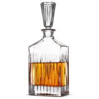 ShopoKus European Style Glass Whiskey Decanter & Liquor Decanter with Glass Stopper, 30 Oz.- With Magnetic Gift Box - Aristocratic Exquisite Striped Design - Glass Decanter for Alcohol Bourbon Scotch