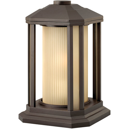 (Outdoor Post 1 Light With Bronze Ribbed Etched Amber Cylinder Cast Aluminum Medium Base 13 inch 100 Watts)