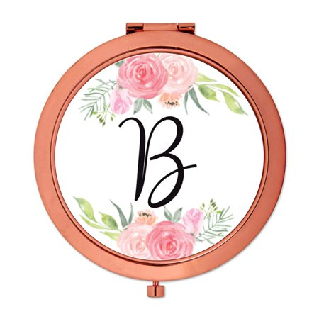 Andaz Press Compact Mirror Bridesmaid's Wedding Gift, Rose Gold, Monogram Letter B, Peach and Pink Roses, - Monogram Wedding Letter