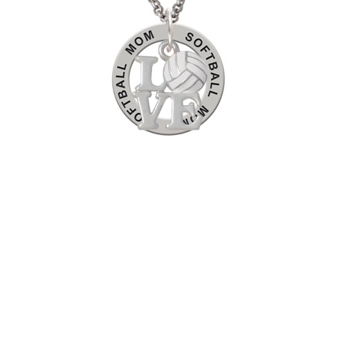 Love with Volleyball Softball Mom Affirmation Ring Necklace