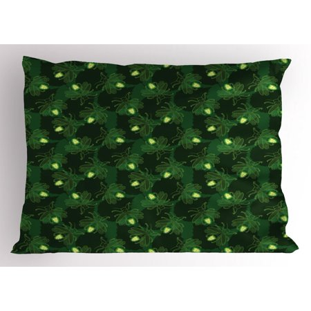 Firefly Pillow Sham, Psychedelic Forest Beetles Bugs Insects Exotic Creatures Wings Wild Pattern, Decorative Standard Size Printed Pillowcase, 26 X 20 Inches, Dark Green Yellow, by - Firefly Wings