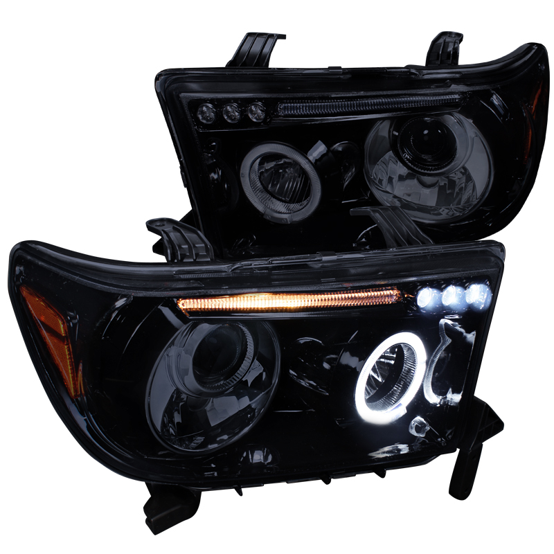Spec-D Tuning 2007-2013 Toyota Tundra Led Halo Projector Headlights Piano 07 08 09 10 11 12 13 (Left + Right)