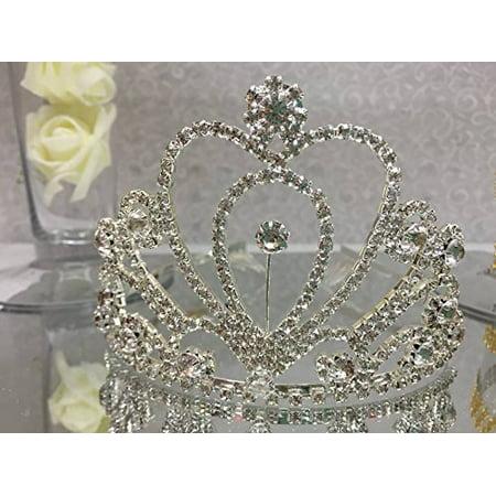 Heart Shaped Silver Rhinestones Tiara Princess Crown Wedding or Sweet 16 or Mis Quince Corona or 15th Birthday or Coronation](Silver Tiara)