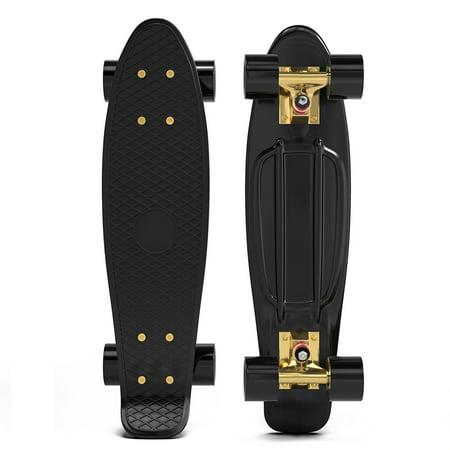 Penny Style Cruiser 22 Inch Board Plastic Retro Mini Skateboard Complete  Black Gold