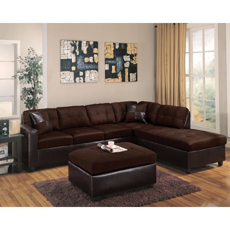 Superior Sectional Sofa With 2 Pillows Reversible Chocolate