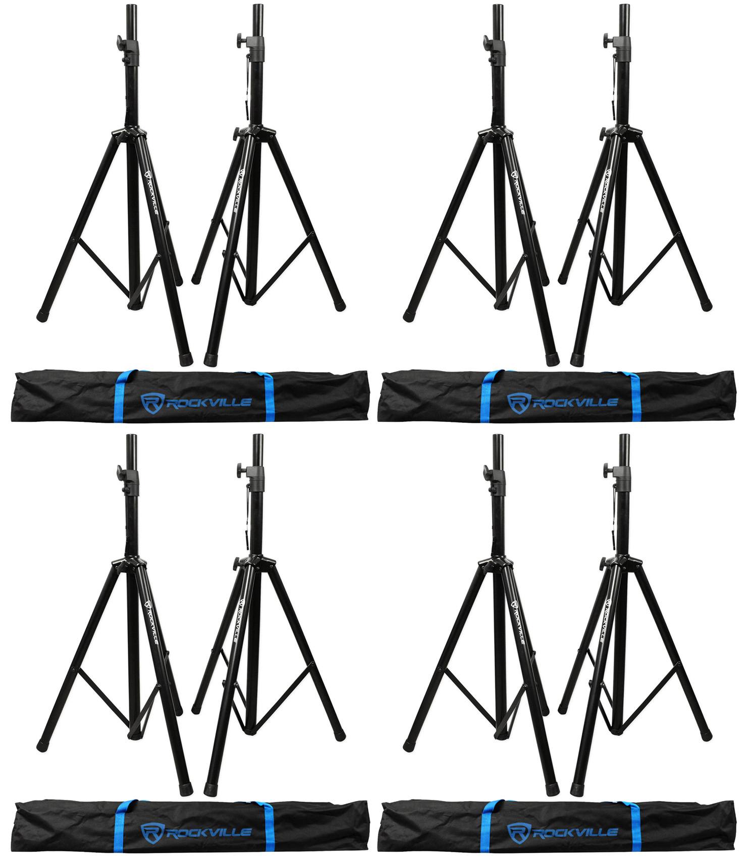 (4) Pairs Rockville Tripod DJ PA Speaker Stands+Carrying Cases 8 Stands Total by