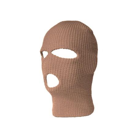 3 Hole Ski Mask Balaclava, Khaki 1pc