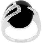 Sunrise Wholesale J2481 09 White Gold Rhodium Bonded with a Black Onyx Centerstone and Pave CZ Black Onyx Egg Ring