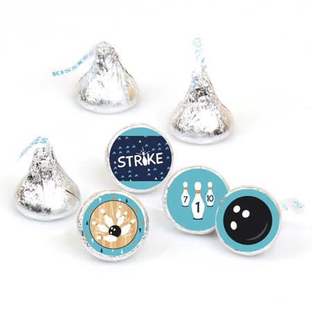 Strike Up the Fun - Bowling - Birthday Party or Baby Shower Round Candy Sticker Favors - Labels Fit Hershey's Kisses (1