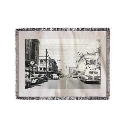 Seattle, WA View of University Way at 45th Photograph (60x80 Woven Chenille Yarn