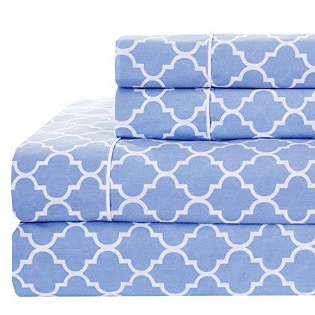 Periwinkle White Twin Xl Printed Meridian 100 Combed Cotton Percale Sheet Set Flat Ed Pillow Cases