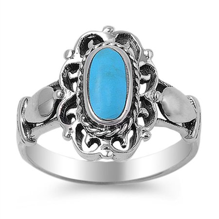 Simulated Turquoise Polished Filigree Cutout Ring ( Sizes 5 6 7 8 9 ) New .925 Sterling Silver Band Rings (Size 7) ()