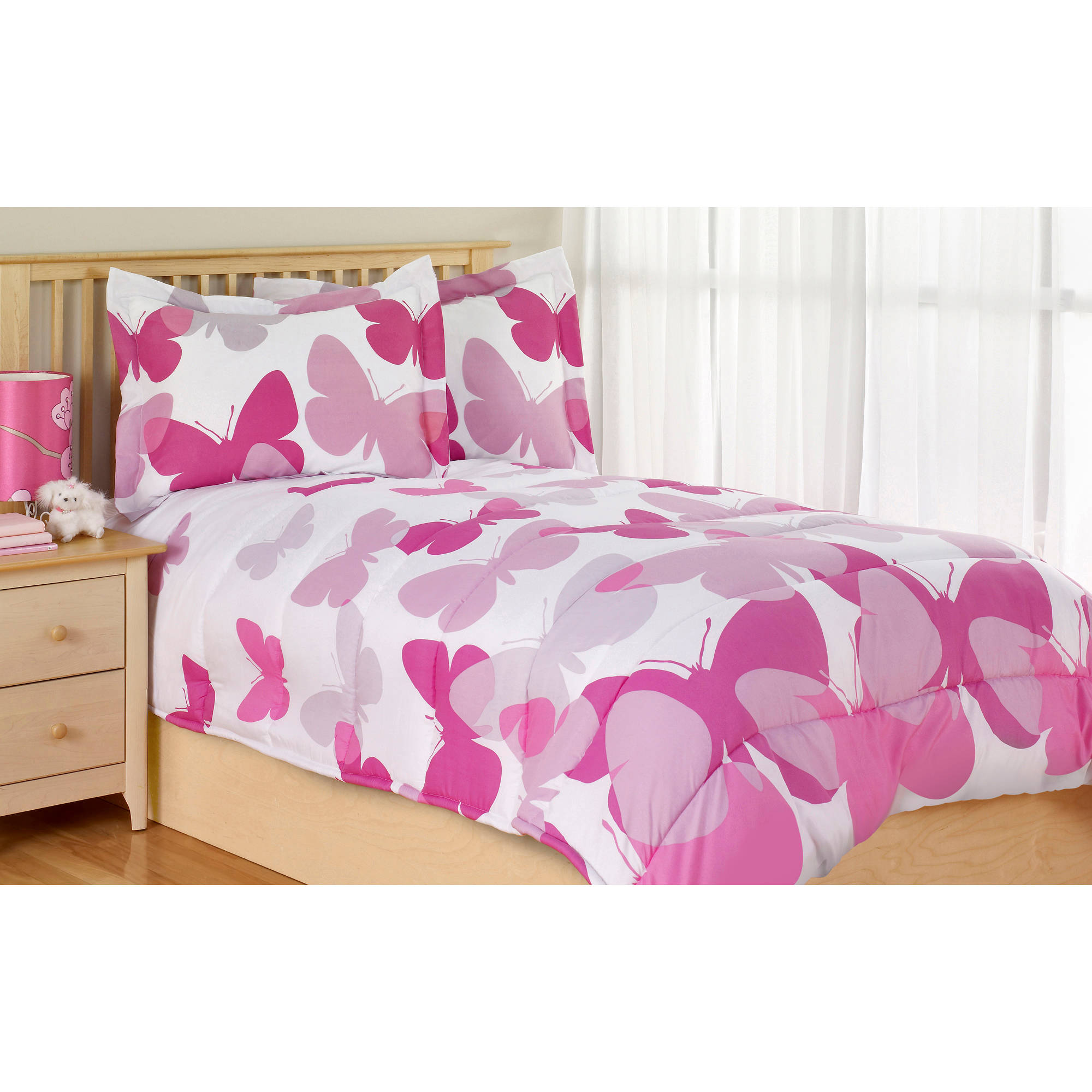 Pink And Orange Butterfly Crib Bedding