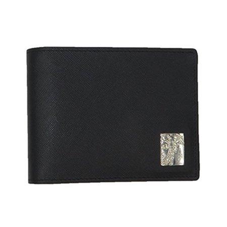 VERSACE COLLECTION Black Saffiano Leather Medusa Logo Bifold Wallet