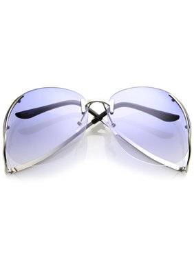 0107ea9dfd Product Image Women s Rimless Curved Metal Arms Round Tinted Lens Oversize  Sunglasses 67mm (Gold   Amber)