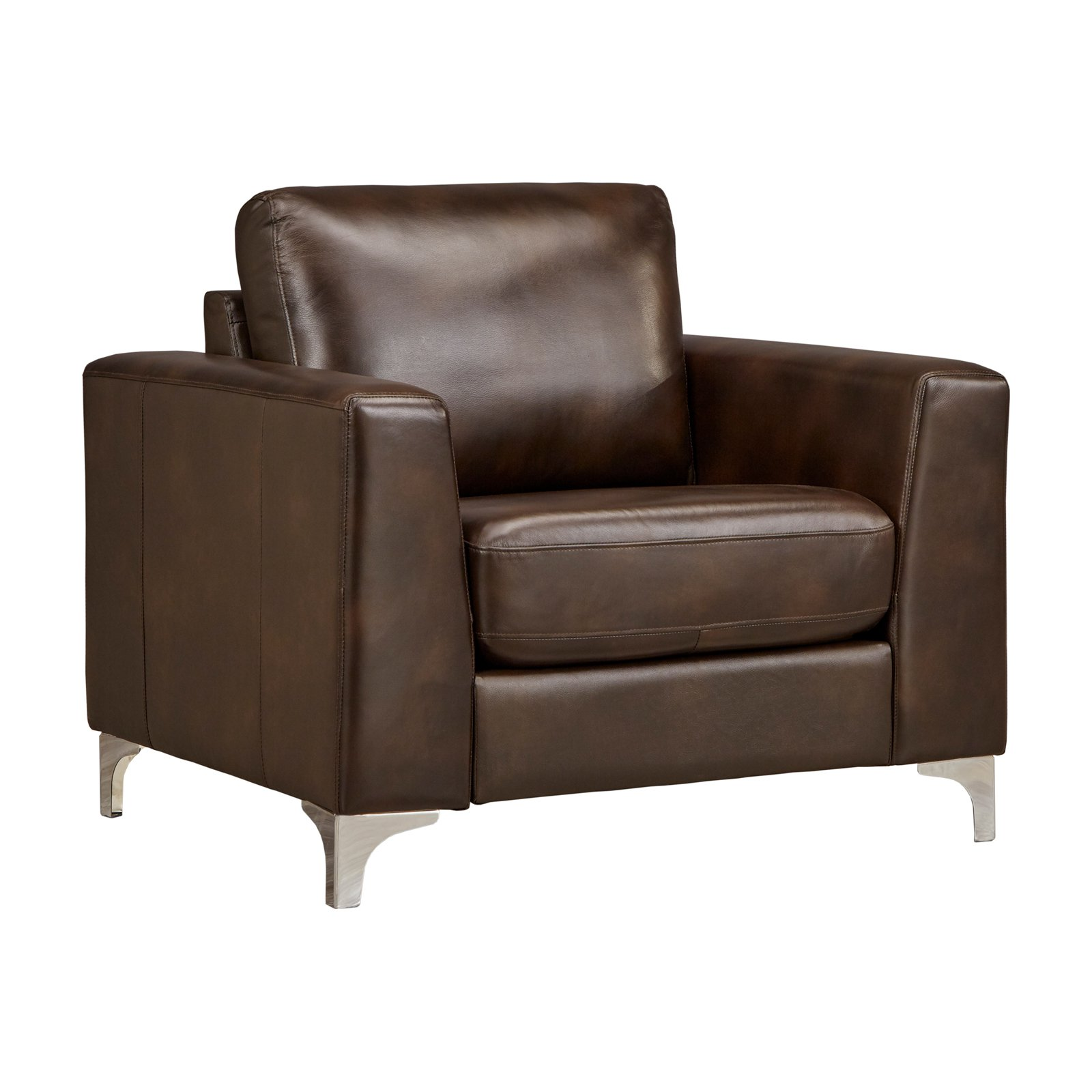 Weston Home Bronston Aniline Leather Accent Chair