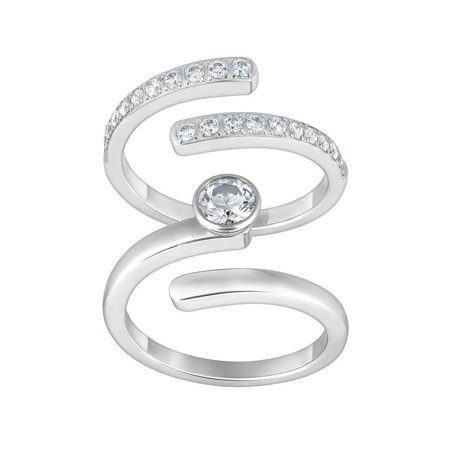 3af9ff975 Swarovski - Clear Crystal Set of 2 Rings RADIANCE RING Silver Tone #1023653  (Medium/55/7) - Walmart.com