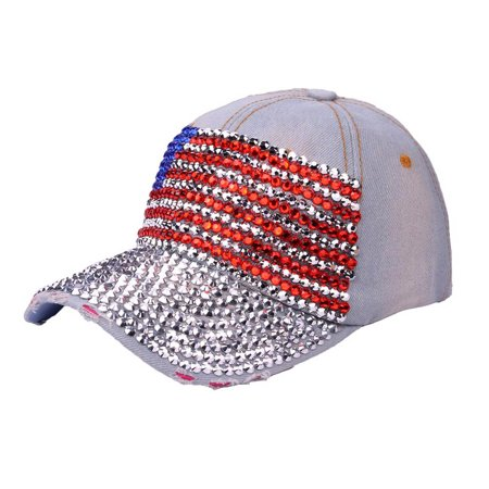 Bling Rhinestones Adjustable Sun Visor Hats USA American Flag Baseball Cap  - Walmart.com 22ec5f7e343