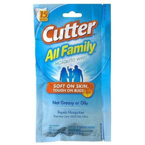 Cutter All Family Mosquito Repellent Wipes 15 ea (Pack of 6)