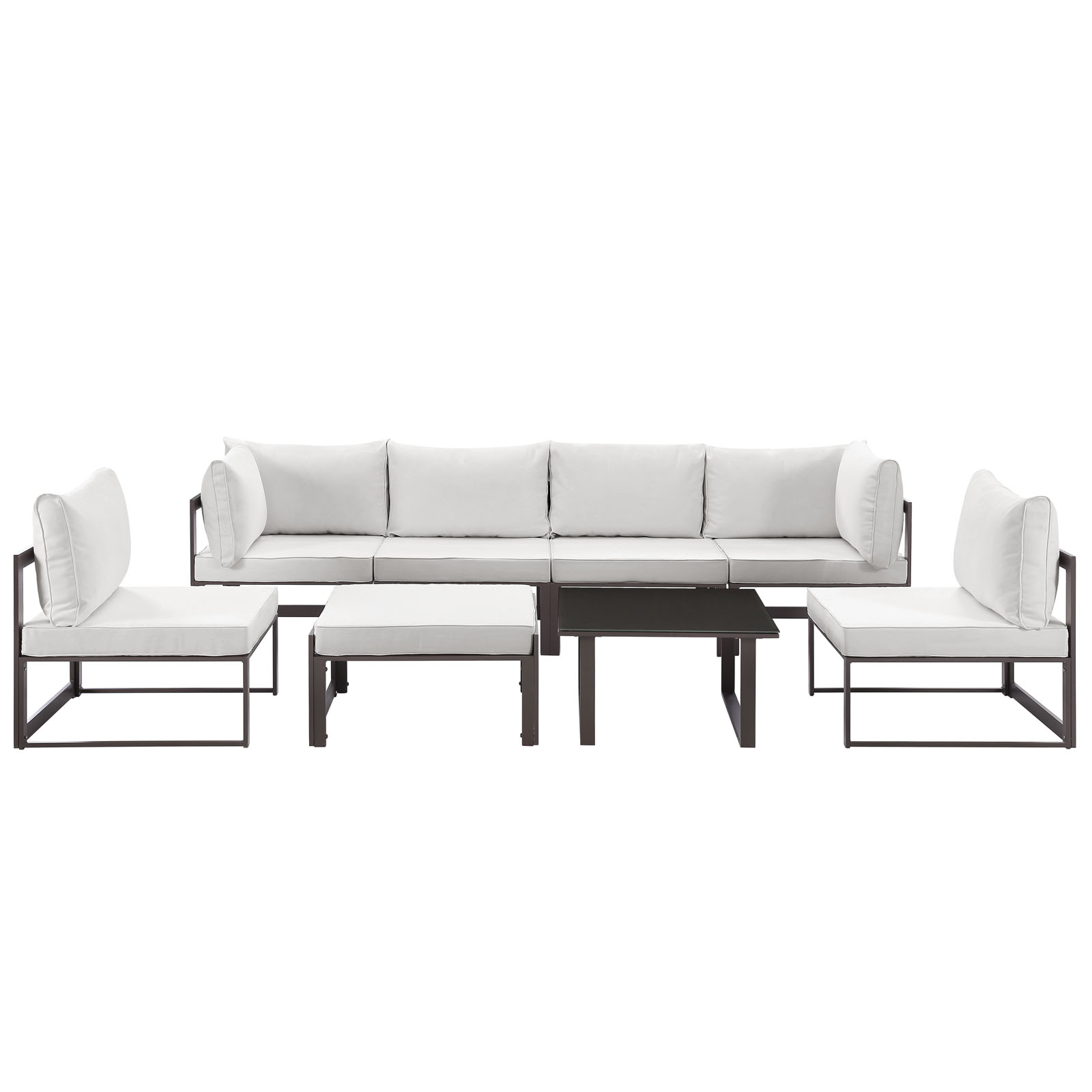 Modern Urban Contemporary 8 Pcs Outdoor Patio Sectional Sofa Set, Brown White  Fabric Steel